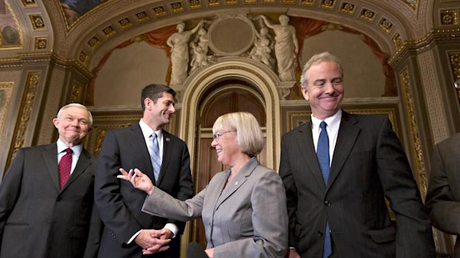 From left, Sen. Jeff Sessions, R-Ala., House Budget Committee Chairman Paul Ryan, R-Wisc., Senate Budget Committee Chair Patty Murray, D-Wash., and Rep. Chris Van Hollen, D-Md., wind up outlining their approach to tackling the nation's debt problems in the Senate Reception Room at the Capitol in Washington, Thursday, Oct. 17, 2013. With last-minute legislation passed in Congress that reopened the government and averted a national default, bipartisan budget conferees from both houses of Congress emerge from an initial meeting in the Capitol. (AP Photo/ Scott Applewhite)