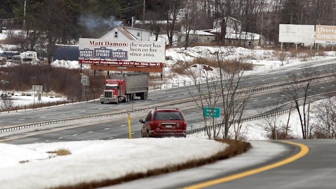 """IMAGE DISTRIBUTED FOR HARD BOILED FILMS, LLC- Matt Damon and his latest Hollywood movie, Promised Land, are under fire on a billboard in upstate New York. The billboard ridicules Damon's anti-fracking premise and its claims that fracking can cause water to light on fire. The billboard was erected by documentary film maker Phelim McAleer, whose pro-fracking film, FrackNation, airs on Tuesday, Jan. 22, 2013 on Mark Cuban's cable television channel, AXS. McAleer said he put the billboard up because he wanted the public to know that there had been flammable water in the United States for at least several centuries before fracking, """"despite misleading information from Hollywood celebrities and environmental activists. (Adam Hunger / AP Images for Hard Boiled Films, LLC)"""