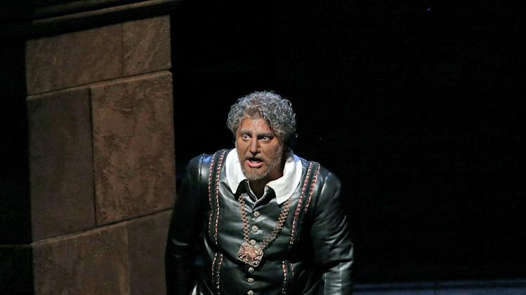 "In this March 11, 2013 photo provided by the Metropolitan Opera, Jose Cura appears in the title role during a performance of of Verdi's ""Otello,"" at the Metropolitan Opera in New York. (AP Photo/Ken Howard)"