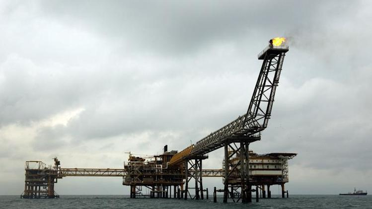 The SPQ1 gas platform is seen on the southern edge of Iran's South Pars gas field in the Gulf, off Assalouyeh