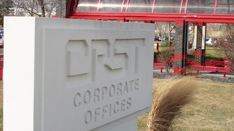 A March 12, 2012, photo shows the  headquarters of CRST Van Expedited, Inc., in Cedar Rapids, Iowa. Dozens of female employees at CRST, on of the nation's largest trucking companies, say they experienced aggressive sexual harassment by male drivers during training rides, but their legal claims have been dismissed because of missteps by Equal Employment Opportunity Commission investigators. (AP Photo/Ryan J. Foley)