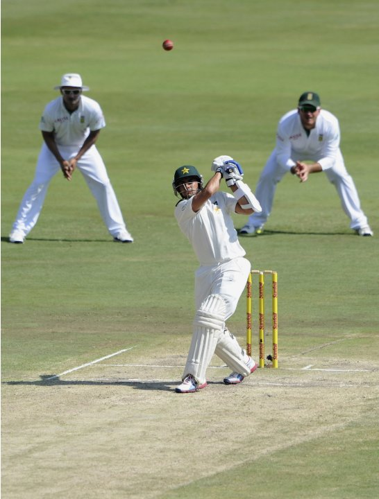 Pakistan's Sarfraz Ahmed plays a shot during the third day of the third cricket Test match against South Africa in Pretoria