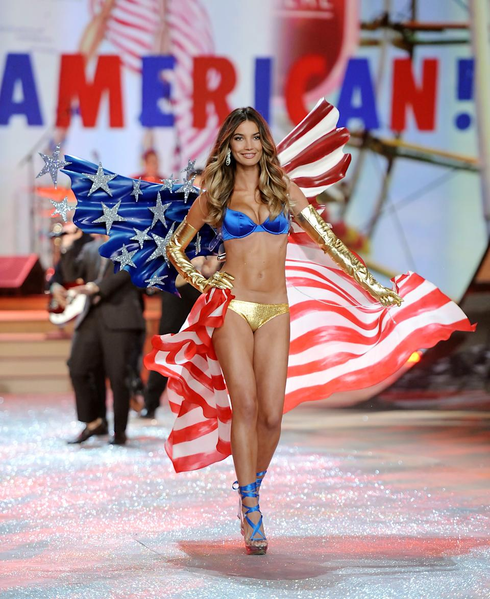 Model Lily Aldridge walks the runway during the 2012 Victoria's Secret Fashion Show on Wednesday Nov. 7, 2012 in New York. The show will be Broadcast on Tuesday, Dec. 4 (10:00 PM, ET/PT) on CBS. (Photo by Evan Agostini/Invision/AP)