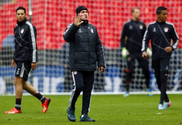 Bayern Munich's coach Heynckes gestures during a team training session at Wembley Stadium in London