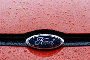 The Ford logo is seen on a vehicle at Ford car plant in Craiova