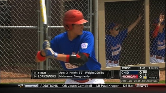 Little Leaguer Chad Lorkowski is 12 years old, 6-foot-2 and 200 pounds — ESPN screenshot