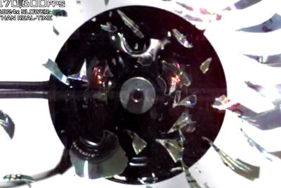 A CD exploding in slow motion is surprisingly beautiful