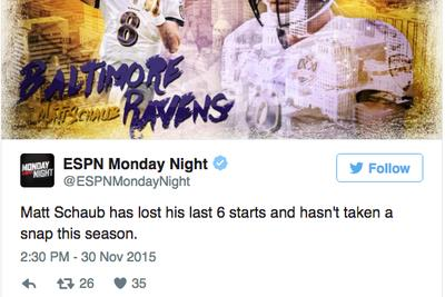 ESPN is warning you not to watch Browns-Ravens 'Monday Night Football'