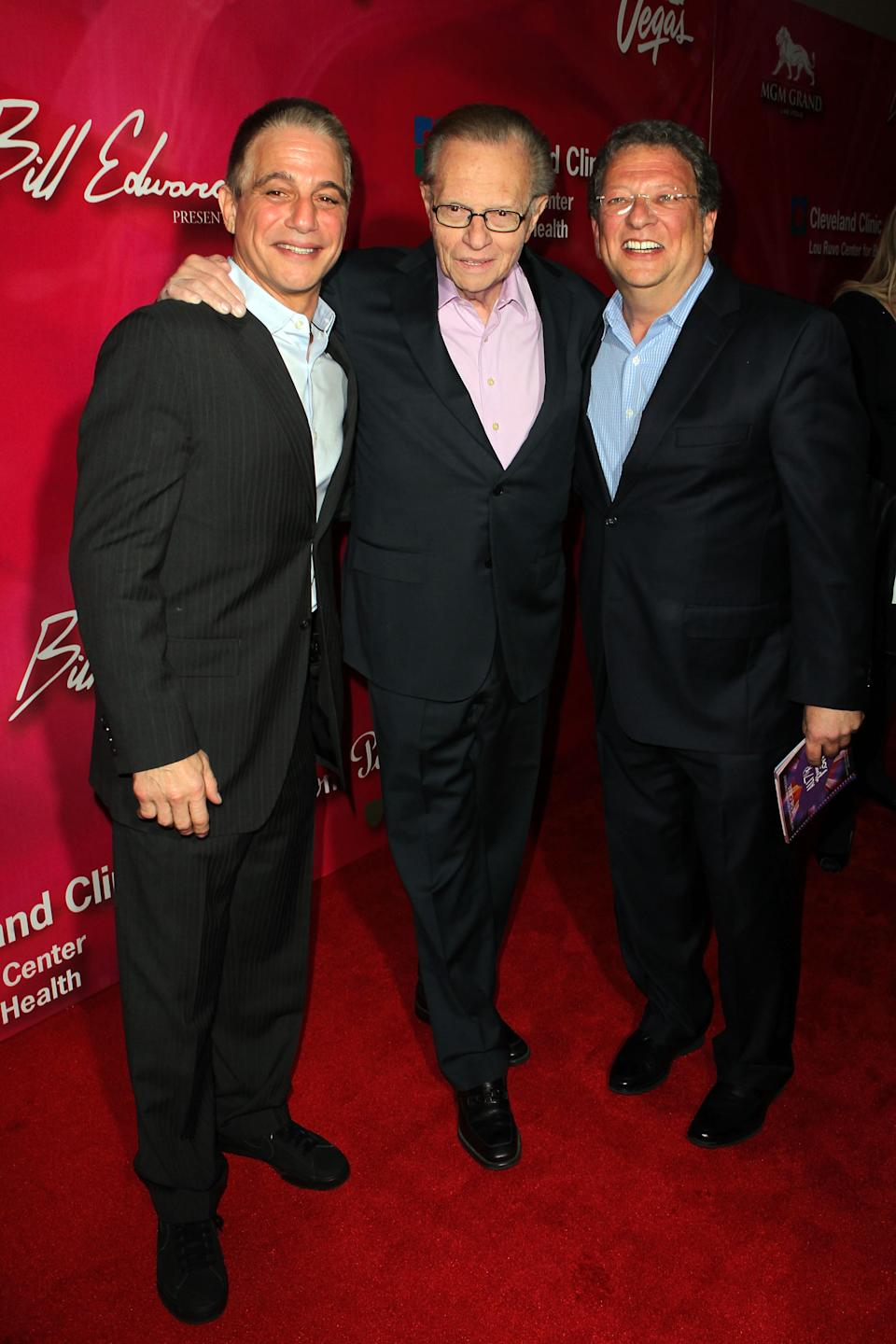 "Actor Tony Danza, television personality Larry King and sportscaster Charley Steiner arrive at the Keep Memory Alive 16th Annual ""Power of Love Gala"" honoring Muhammad Ali with his 70th birthday celebration on Saturday, Feb. 18, 2012, in Las Vegas. (AP Photo/Jeff Bottari)"