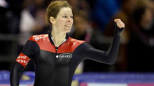 Christine Nesbitt of Canada reacts after her 1000m ISU World Single Distance Speed Skating Championships in Heerenveen March 24, 2012