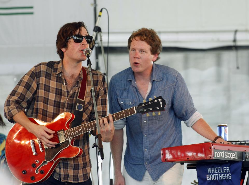Nolan Wheeler and AJ Molyneaux of the Wheeler Brothers perform at the 54th edition of the Newport Folk Festival in Newport, R.I., on Sunday, July 28, 2013. (AP Photo/Joe Giblin)