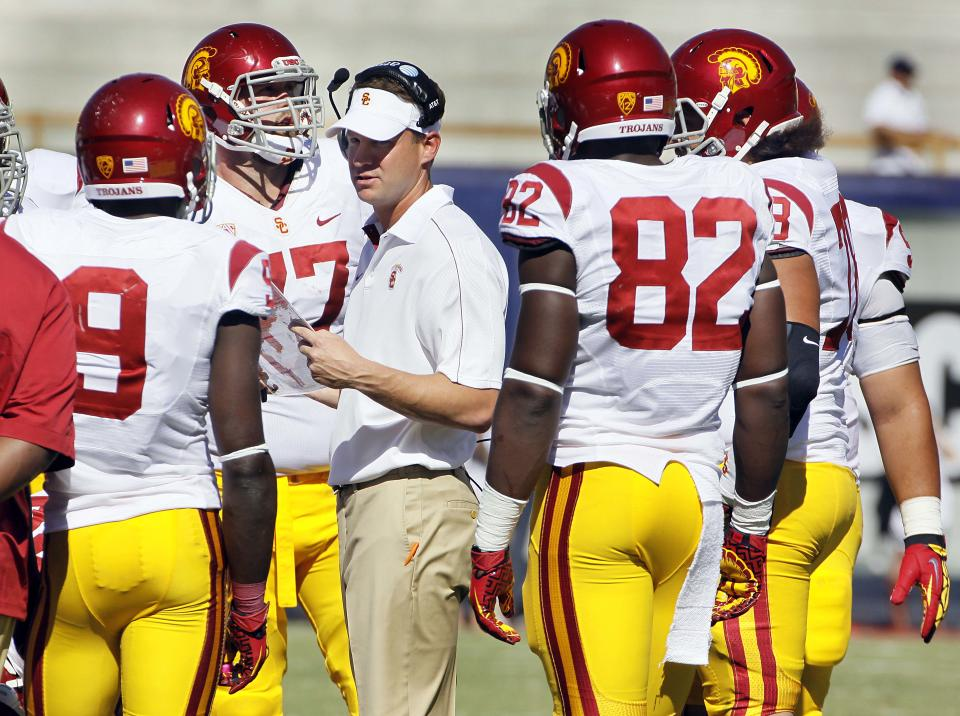 Southern California head coach Lane Kiffin, center, talks to his players  in a game against Arizona during the second quarter of an NCAA college football game at Arizona Stadium in Tucson, Ariz., Sat., Oct. 27, 2012. (AP Photo/Wily Low)