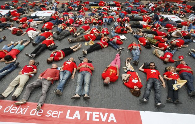 Radio and TV workers protest against layoffs and cuts by public broadcasters TV3 and Radio of Catalonia in Barcelona