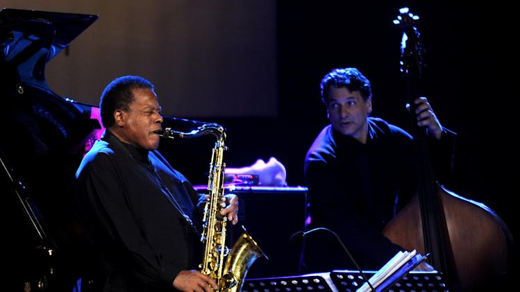 FILE - In this Oct. 20, 2011 file photo, the American jazz saxophonist Wayne Shorter, left, performs with John Patitucci on bass during Skopje Jazz Festival, in Macedonia's capital Skopje. Saxophonist-composer Wayne Shorter is a triple-winner in the 2013 Jazz Awards presented by the Jazz Journalists Association. Shorter, who was a member of Miles Davis' legendary mid-'60s quintet and co-founded the fusion band Weather Report, won awards for Lifetime Achievement in Jazz, top soprano saxophonist and best small ensemble. (AP Photo/Boris Grdanoski, File)