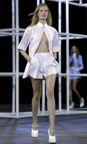 The Alexander Wang Spring 2014 collection is modeled during Fashion Week in New York, Saturday, Sept. 7, 2013. (AP Photo/Richard Drew)
