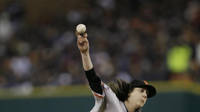 San Francisco Giants' Tim Lincecum throws during the seventh inning of Game 3 of baseball's World Series against the Detroit Tigers Saturday, Oct. 27, 2012, in Detroit. (AP Photo/Matt Slocum)