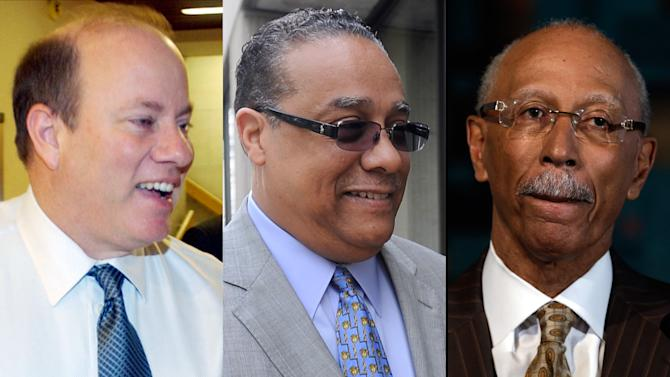FILE - This combination of file photos shows Detroit Mayor Dave Bing, right, as he announced Tuesday, May 15, 2013, in Detroit that he would not seek a second term. Mike Duggan, left on March 31, 2004, former chief executive of the Detroit Medical Center, and Wayne County Sheriff Benny Napoleon, center on May 5, 3013, have said they will run for mayor of the financially troubled city. (AP Photo/File)
