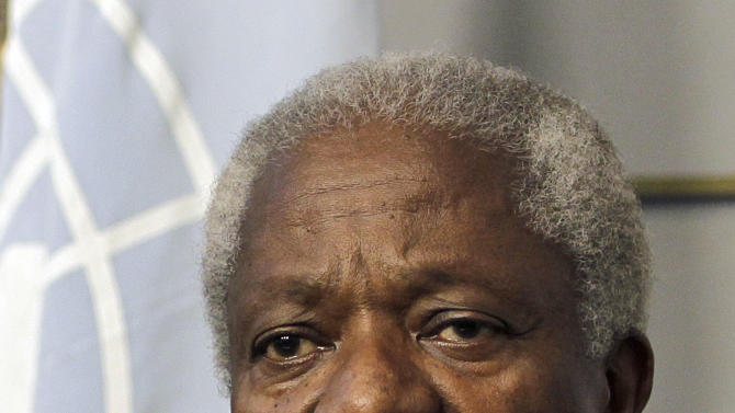 "Kofi Annan, the U.N.-Arab League Joint Special Envoy for Syria, speaks during a press conference after his meeting with Lebanese Prime Minister Najib Mikati, unseen, at the governmental palace in Beirut, Lebanon, Friday, June 1, 2012. Annan said he is ""impatient and frustrated,"" special envoy Kofi Annan called on the Syrian president Friday to implement a U.N.-brokered peace plan following a horrific weekend massacre that killed more than 100 people. (AP Photo/Hussein Malla)"