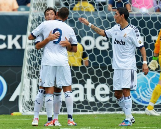 Karim Benzema of Real Madrid is congratulated for a second half goal