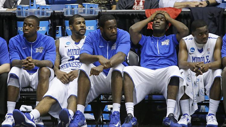 Middle Tennessee players sit on the bench in the closing seconds of their 67-54 loss to St. Mary's in a first-round game of the NCAA men's college basketball tournament, Tuesday, March 19, 2013, in Dayton, Ohio. (AP Photo/Al Behrman)
