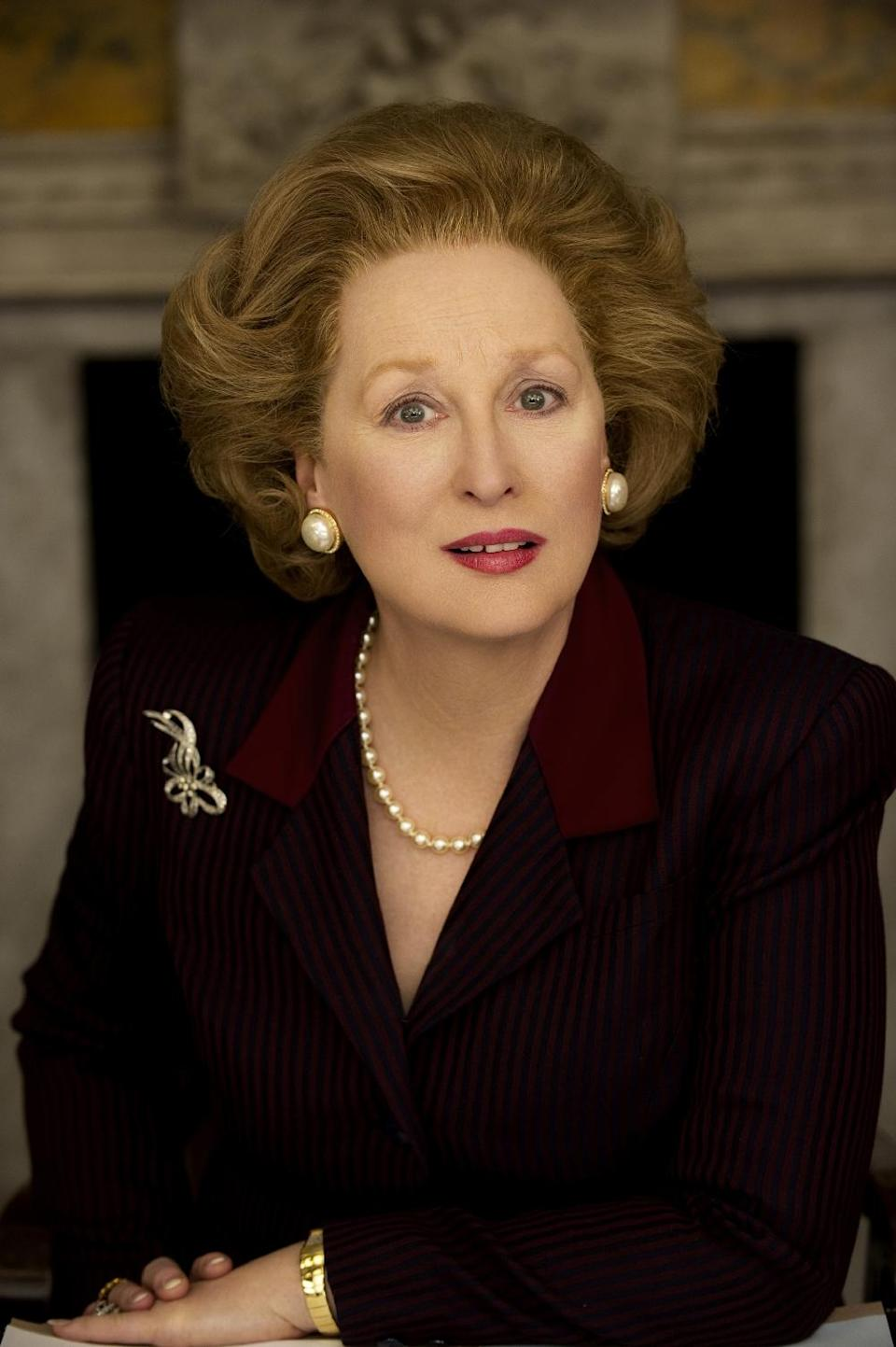"In this film image released by The Weinstein Company, Meryl Streep portrays Margaret Thatcher in ""The Iron Lady.""  Streep was nominated Thursday, Dec. 15, 2011 for a Golden Globe award for best actress in a drama for her role in the film. (AP Photo/The Weinstein Company, Alex Bailey)"