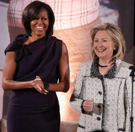 First Lady Michelle Obama and Secretary of State Hillary Rodham Clinton