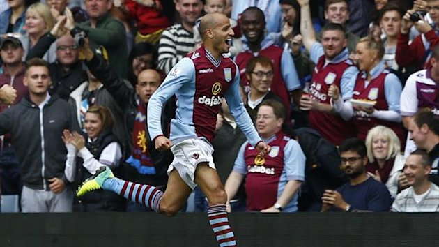 Karim El Ahmadi celebrates scoring for Aston Villa against Mancheter City (Reuters)