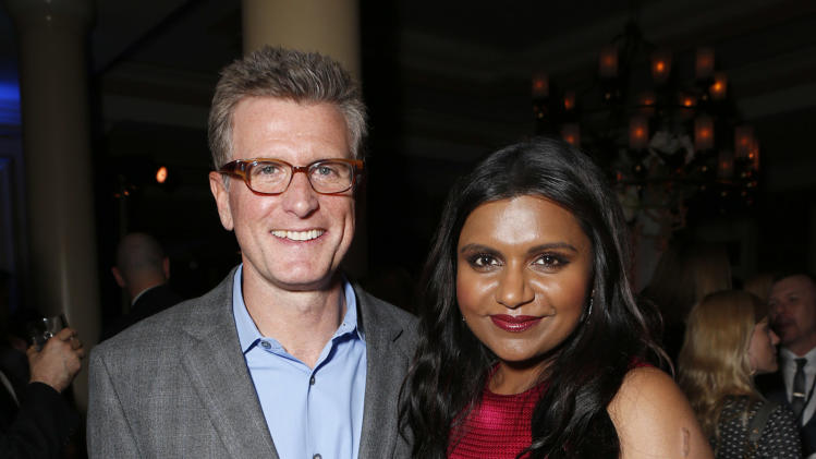 Chairman of Entertainment, FOX Broadcasting Company Kevin Reilly and Mindy Kaling attend the Fox Winter TCA All Star Party at the Langham Huntington Hotel on Tuesday, Jan. 8, 2013, in Pasadena, Calif. (Photo by Todd Williamson/Invision/AP)