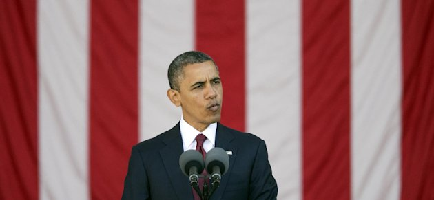 President Barack Obama speaks at the annual Veterans Day commemoration at Arlington National Cemetery in Arlington, Va., Sunday, Nov. 11, 2012. (AP Photo/Manuel Balce Ceneta)
