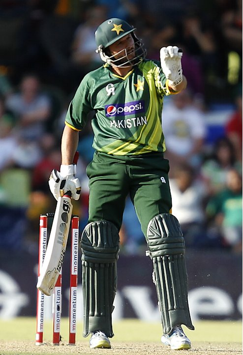 Pakistan's Shahid Afridi gestures during their ODI cricket match against South Africa in Bloemfontein