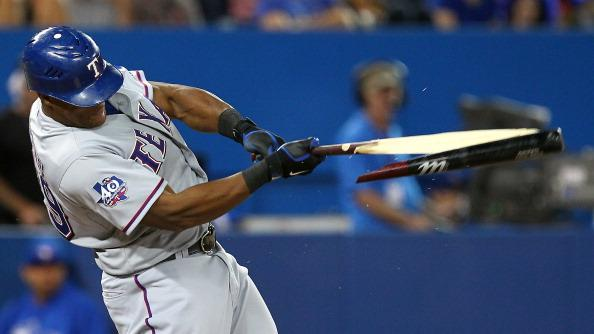 Adrian Beltre #29 of the Texas Rangers breaks his bat against the Toronto Blue Jays during MLB action at the Rogers Centre August 17, 2012 in Toronto, Ontario, Canada. (Photo by Abelimages/Getty Images)