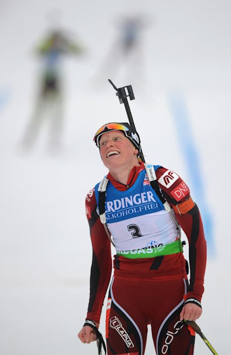 Norway's Biathlet Tora Berger Celebrates AFP/Getty Images