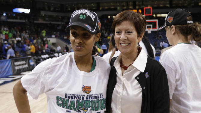 Notre Dame guard Skylar Diggins, left and coach Muffet McGraw smile after Notre Dame's win over Duke at the regional final of the NCAA women's college basketball tournament Tuesday, April 2, 2013, in Norfolk, Va.  Notre Dame won 87-76. (AP Photo/Steve Helber)