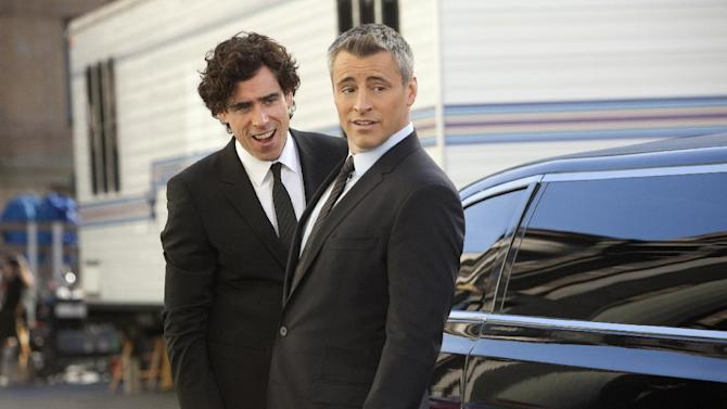 """This image released by Showtime shows actors Stephen Mangan as Sean Lincoln, left, and Matt LeBlanc as himself in a scene from the second season of """"Episodes.""""  The second season premieres Sunday, July 1, 2012 at 10:30 p.m. EST on Showtime. (AP Photo/Showtime, Jordin Althaus)"""