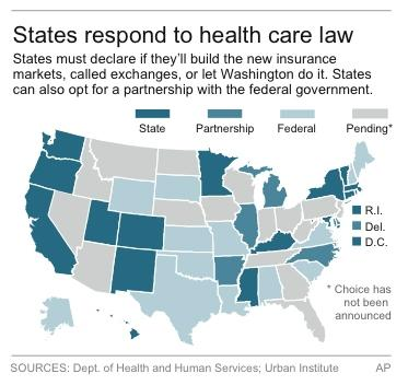 Map shows how states will implement the new online insurance markets