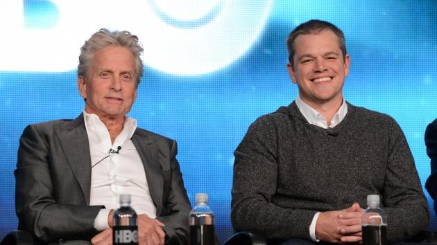 Michael Douglas and Matt Damon speak about the new HBO film 'Behind The Candelabra' during the HBO Winter 2013 TCA Panel at The Langham Huntington Hotel and Spa, Pasadena, Calif.,  on January 4, 2013 -- Getty Images