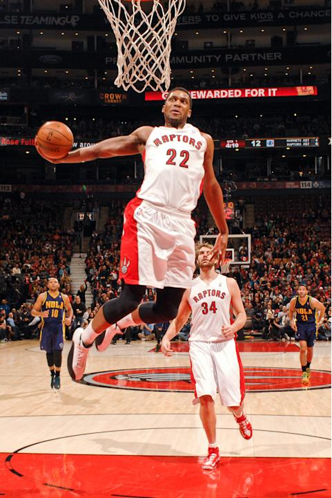 Rudy Gay #22 of the Toronto Raptors dunks against the New Orleans Hornets on February 10, 2013 at the Air Canada Centre in Toronto, Ontario, Canada. NOTE TO USER: User expressly acknowledges and agree