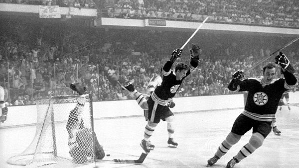 Bobby Orr soars through the air after scoring the Stanley Cup-winning goal for the Boston Bruins in 1970