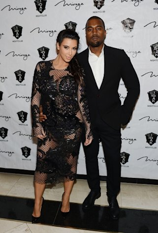 A pregnant Kim Kardashian hits the red carpet with Kanye West for a New Year&#39;s Eve bash at 1 OAK Nightclub at the Mirage on December 31, 2012 in Las Vegas -- Getty Images