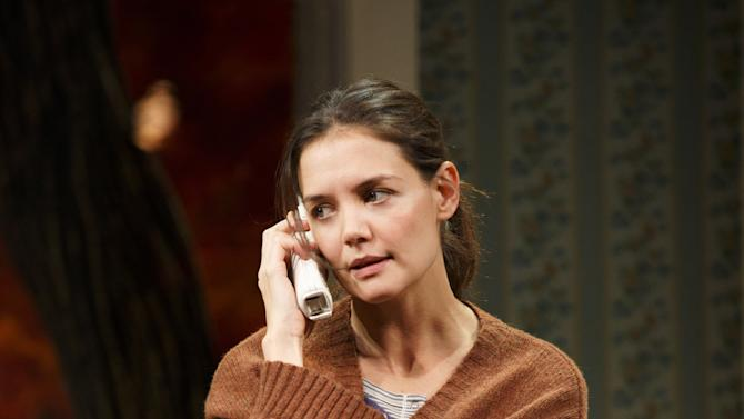 """This undated publicity photo provided by Boneau/Bryan-Brown shows Katie Holmes as Lorna in a scene from """"Dead Accounts,"""" by Theresa Rebeck, at Broadway's Music Box theatre in New York. (AP Photo/Boneau/Bryan-Brown, Joan Marcus)"""