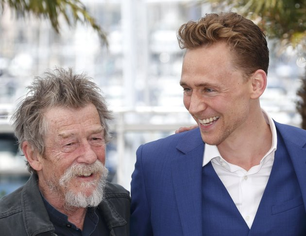 "Cast members John Hurt and Tom Hiddleston pose during a photocall for the film ""Only Lovers Left Alive"" at the 66th Cannes Film Festival"
