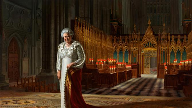 This is an undated handout photo released by Sutton PR of the painting by Ralph Heimans entitled 'The Coronation Theatre, Westminster Abbey: A Portrait of Her Majesty Queen Elizabeth II, 2012 '. A portrait of Queen Elizabeth II on display at Westminster Abbey has been defaced with paint. The abbey says a painting by Ralph Heimans hanging in the building's Chapter House was vandalized at lunchtime on Thursday. It has been removed from public view until it can be restored. The portrait by Australia-born artist Heimans was commissioned to mark last year's anniversary of the queen's 60 years on the throne. It was on display until March in Australia's National Portrait Gallery in Canberra. Last week the monarch attended a ceremony in the abbey where she was crowned to mark the 60th anniversary of her coronation in June 1953. (AP Photo / Ralph Heimans / Colin White/Max C/PA) NO SALES