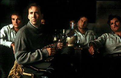 Nicolas Cage as Italian officer Antonio Corelli who, along with his men, brings his love of music to Greece in Universal's Captain Corelli's Mandolin