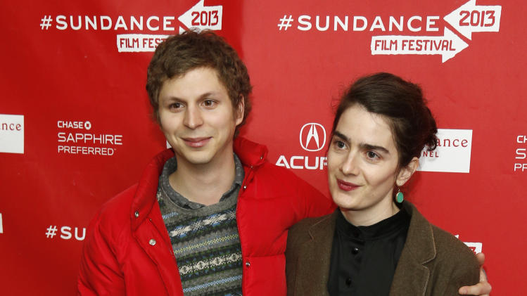 "Cast members Michael Cera, left, and Gaby Hoffmann, right, pose at the premiere of ""Crystal Fairy"" during the 2013 Sundance Film Festival on Thursday, Jan. 17, 2013 in Park City, Utah. (Photo by Danny Moloshok/Invision/AP)"