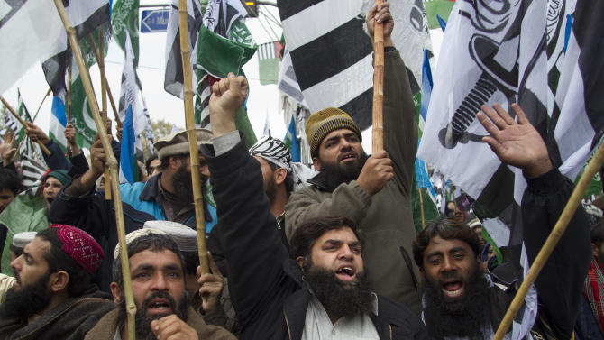 In this Monday, Feb. 20, 2012, supporters of different religious parties chant anti-American slogans at a rally in Islamabad, Pakistan. A U.S. congressman has sparked outrage in Pakistan by calling for the secession of the country's largest province, further complicating Washington's attempt to resuscitate its vital anti-terrorism alliance with Islamabad. (AP Photo/B.K. Bangash)