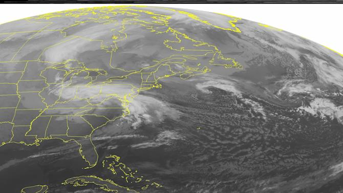 This NOAA satellite image taken Wednesday, March 6, 2013 at 1:45 a.m. EST shows a low pressure system over the central Appalachian Mountains moving into the Mid-Atlantic and Northeast with areas of snow and coastal rain. Fair weather is seen across the southeastern United States. (AP PHOTO/WEATHER UNDERGROUND)