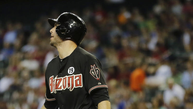 Arizona Diamondbacks' Paul Goldschmidt follows through on a base hit against the Los Angeles Dodgers during the first inning of a baseball game, Tuesday, July 9, 2013, in Phoenix. (AP Photo/Matt York)