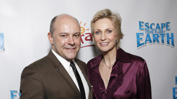 """Rob Corddry and Jane Lynch attend the LA premiere of """"Escape from Planet Earth"""" at the Chinese Theater on Saturday, Feb. 2,2013 in Hollywood. (Photo by Todd Williamson/Invision/AP Images)"""