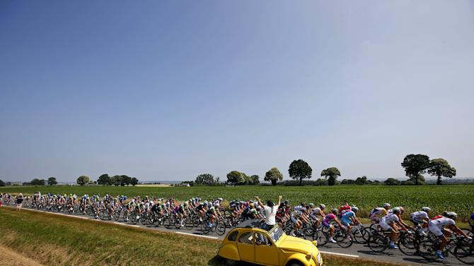 File photo of the pack of riders cycling during the twelfth 218km stage of the centenary Tour de France cycling race from Fougeres to Tours