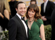 "FILE - This Jan. 27, 2013 file photo shows actors Vincent Kartheiser, left, and Alexis Bledel at the 19th Annual Screen Actors Guild Awards at the Shrine Auditorium in Los Angeles. Bledel's publicist, Meghan Prophet, is confirming the news that the couple is engaged. The 33-year-old Kartheiser plays ad man Pete Campbell on the hit AMC network drama ""Mad Men,"" and Bledel, 31, is best known for her role as the teenage daughter in the long-running series ""Gilmore Girls."" (Photo by Chris Pizzello/Invision/AP, file)"